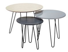 3 tables basses gigognes D 40 cm à  60 cm Graphik