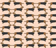 Sausage Dog - Blush by Andrea Lauren fabric by andrea_lauren on Spoonflower - custom fabric