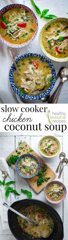 This Slow Cooker Thai Chicken Coconut Soup is loosely based on the classic Thai soup- Tom Kha Gai, but I've loaded it up with veggies and rice noodles to make it a easy, hearty and healthy weeknight meal. It's naturally gluten-free!