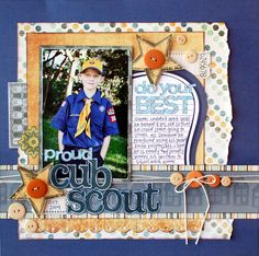 Scout arrangement in a frame or scrapbook Kids Scrapbook, Scrapbook Templates, Scrapbook Page Layouts, Scrapbook Paper Crafts, Scrapbook Supplies, Scrapbook Cards, Scrapbooking Ideas, Scrapbook Photos, Scrapbook Titles