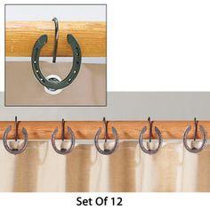 Rustic Horseshoe Shower Curtain Hooks