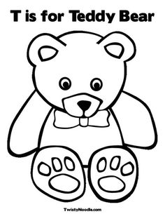 T is for Teddy Bear Coloring Page