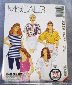 1991 Uncut McCalls Pattern 5336 Misses Tops by lovelylovepatterns, $4.00