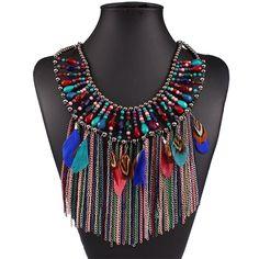 Encontrar Más Gargantillas Información acerca de Nueva moda collar llamativo para mujeres joyería bohemia cuentas de