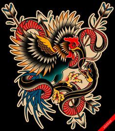 Traditional rooster and snake tattoo flash