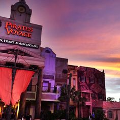 Pirates Voyage (at sunset) in Myrtle Beach, South Carolina - The place for a  fabulous 5- course pirate feast!   (Photo via Instagram by @tideseyephoto)