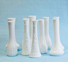 10 Milk Glass Bud Vase Vintage Collection