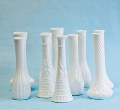 10 Milk Glass Bud Vase 6 inch Vintage Collection, DIY Wedding Decor, Milk Glass Vase Bundle Lot