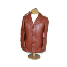 1970s Vintage Mens Brown Leather Coat Jacket Car Coat by RayMels, $45.00 Designer Leather Jackets, Perfect Fit, 1970s, Brown Leather, Plaid, Zip, Coat, Sleeves, Shopping