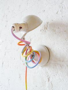 vintage white clip light + rainbow cord