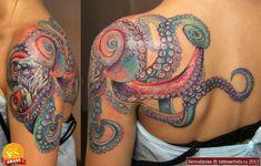 Shoulder octopus tattoo