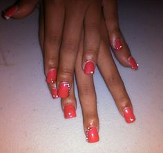 Coral gel polish with rhinestones-2014 prom nails