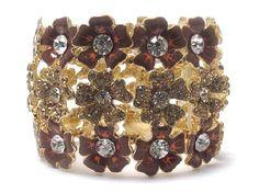 Brown & Gold Three line crystal and acryl fashion flowers stretch bracelet