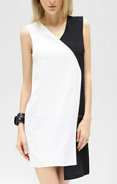 V-neck Sleeveless Chiffon Color Block Dress