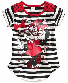 dd98ed4d639 Disney Little Girls  Minnie Mouse Striped Tee Boys Pajamas