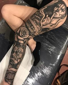 Los Angeles Leg Sleeve Best Tattoo Design Ideas pertaining to dimensions 1000 X 1250 Thigh Sleeve Tattoo Designs - Tiger tattoos are not only preferred by Thigh Sleeve Tattoo, Leg Tattoo Men, Best Sleeve Tattoos, Sleeve Tattoos For Women, Tattoo Sleeve Designs, Tattoos For Guys, Chicano Tattoos Sleeve, Stomach Tattoos, Body Art Tattoos
