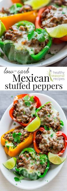 These cheesy spicy Mexican stuffed bell peppers come together in only 20 minutes for a low-carb, gluten-free and totally delicious weeknight meal. #lowcarb #keto #glutenfree #grainfree #primal