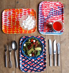 Trio of Wooden Breakfast Trays. bright colors