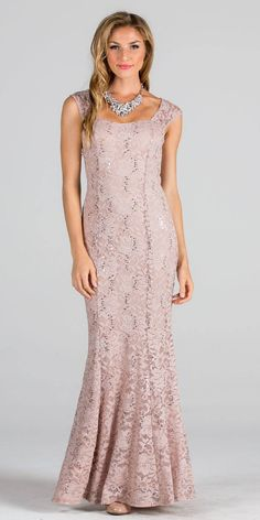 """Imagine yourself in this elegant long formal dress by La Scala 22559 in nude, which features a semi-sweetheart neckline, cap sleeves, fit and flare silhouette, made of lace accented with sequins. Designer: La Scala Item number: 22559 Material: 98% Polyester 2% Spandex Back zipper Made in USA Size chart below is a general sizing chart for La Scala Sized S M L XL 2XL Bust 30"""" to 32"""" 32"""" to 34"""" 34"""" to 36"""" 36"""" to 38"""" 38"""" to 40"""" Waist 2..."""