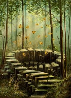 Entrance to spirit world Fantasy World, Fantasy Art, Fantasy Fiction, Fantasy Places, Nature Spirits, Photo D Art, All Nature, Fantasy Landscape, Forest Landscape
