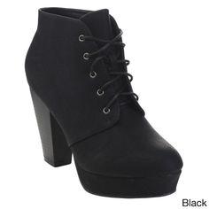 Bella Marie Goldie-11 Women's Fashion High Chunky Heel Platform Up Booties