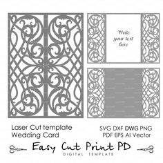 "Card Template Swirls stencil Scroll door gate folds Wedding invitation 5x7"" (svg dxf ai eps png) laser cut Instant Download Silhouette Cameo"