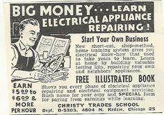 1950s or 60s ad: Lear  Electrical Appliance Repairing