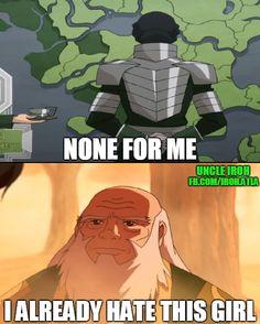 Refuses Tea = Evil   Simple as that.   Kuvira meets Uncle Iroh   Book 4: Balance   Legend if Korra   Avatar