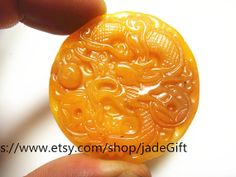 Free Shipping  good luck Natural  yellow  jade chinese by jadeGift, $32.99