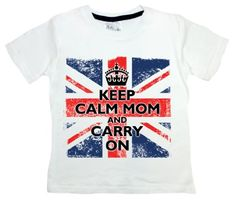 Dirty Fingers - Keep Calm Mom and Carry On (on British flag) - Childs T-shirt, 3-4 years, White