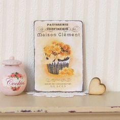 Dollhouse Miniature French Yellow Daisy Flower Cupcakes Patisserie Picture Sign Plaque Shabby Chic 12th Scale.