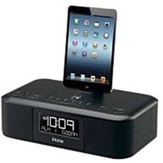 iHome IDL95B Dual Alarm Clock Radio For iPad, iPhone - Black