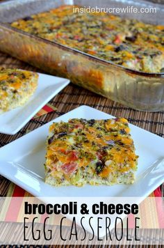 Broccoli and Cheese Egg Casserole - An egg casserole mixed with vegetables is a quick and delicious breakfast choice #eggs #cheese #sargento @Inside BruCrew Lifecrewlife
