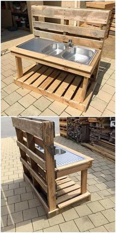 This shipping wood pallet idea will make you introduce out with the sink design for your garden use. Basically garden sink ideas are defined as the small house being set with miniature settlement of the sink as created out of the wood pallet. This idea is Mud Kitchen For Kids, Diy Kitchen, Kitchen Modular, Kitchen Wood, Kitchen Sink, Pallet Ideas Easy, Diy Pallet Projects, Pallet Kids, Diy Ideas