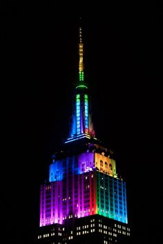 The Empire State Building Halloween Light Show October 2013 .