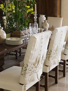 Wonderful Tips: Upholstery Trim Furniture upholstery corners projects.Upholstery For Beginners Fabrics upholstery for beginners fabrics.Upholstery Trim How To Paint. Chair Back Covers, Dining Room Chair Covers, Slip Covered Dining Chairs, Seat Covers, Dining Room Chair Slipcovers, Dining Room Chairs, Office Chairs, Upholstered Chairs, School Chairs