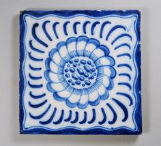 ¤ William Morris tile - 'Webb Sunflower'  ¤ Sunflower design, probably by Philip Webb. Painted on 6 inch tile in Netherlands for Morris and Co