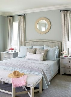 Benjamin Moore Gray Wisp. Beautiful gray with a lot of depth (slight green/blue undertone) House of Turquoise: Andrew Howard Interior Design