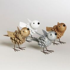 Kid's Craft: Adorable Pinecone & Foam Sparkling Birds (Inspiration Only. No Pattern or Instructions.)