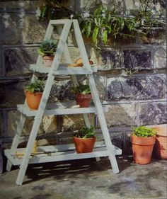 a Quality Solid Wooden A-frame Table/ Shelves Garden Furniture Table Shelves, Ladder Bookcase, Garden Furniture, Ladder Decor, Frames, Kitchen, Home Decor, Outdoor Garden Furniture, Cooking