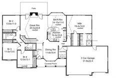 Home Plans HOMEPW76209 - 2,322 Square Feet, 4 Bedroom 3 Bathroom Country Home with 3 Garage Bays