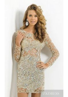 Embellished Sheath Champagne Lace Short 3/4 Length Sleeves Prom Dress Cheap zkdress26121