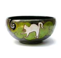 Yarn Bowl With Cat Pottery Yarn Bowl Ceramic by MMceramicdesign