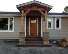 front porch with rafters dont like the stone bit though mobile home - Front Porch Designs For Mobile Homes