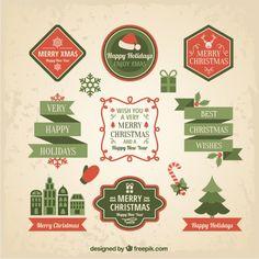 Green Flat Christmas Labels I Free Vector