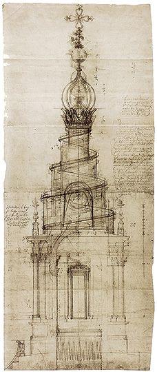 Francesco Borromini, progetto per la Lanterna di Sant'Ivo alla Sapienza, 1632-1642.