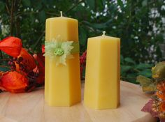 Beautiful Handcrafted Hexagon Pillar Candles  100% Pure Beeswax by BurnstownBees, $13.00