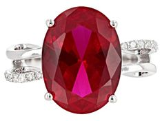 Nouveau Ruby /& Diamond Bypass Ring 925 Sterling Silver Band Women/'s Estate Taille 7