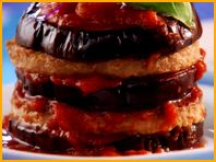 Not big on Hungry Girl recipes...but this would definitely fill you up! Boca Burgers stacked with Eggplant Slices