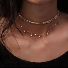 Stack two delicate chokers for a simple yet charming look. Let DailyDressMe help you find the perfect outfit for whatever the weather! WOMEN'S ACCESSORIES http://amzn.to/2kZf4gO